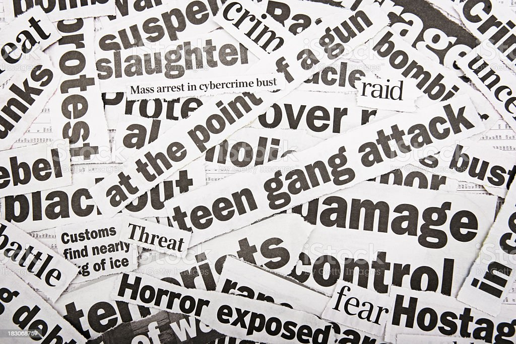 News Headlines Picture: Newspaper Cutouts Of Bad News Headlines Stock Photo & More