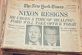 'New York, New York, USA - November 3, 2012: A close up of the front page of the The New York Times newspaper dated August 9, 1974. The New York Times reporting President Richard Nixon resigns after the Watergate scandal, Vice President Gerald Ford taking office.'