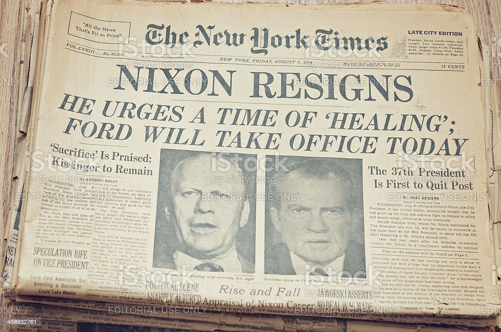 Newspaper front page showing resignation of Nixon stock photo