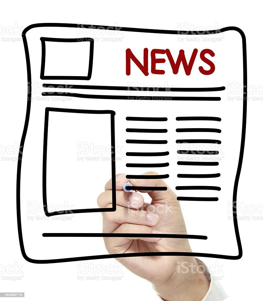 Newspaper hand drawn on white board royalty-free stock photo