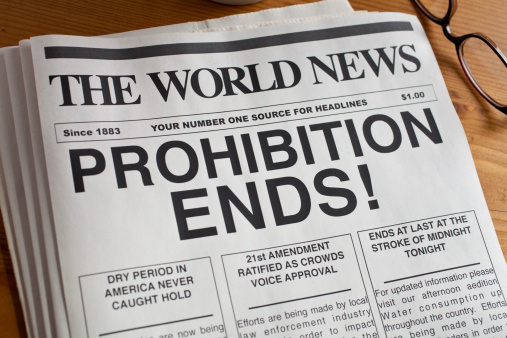 Prohibition Over on a newspaper headline.  Copy and newspaper created by the photographer.