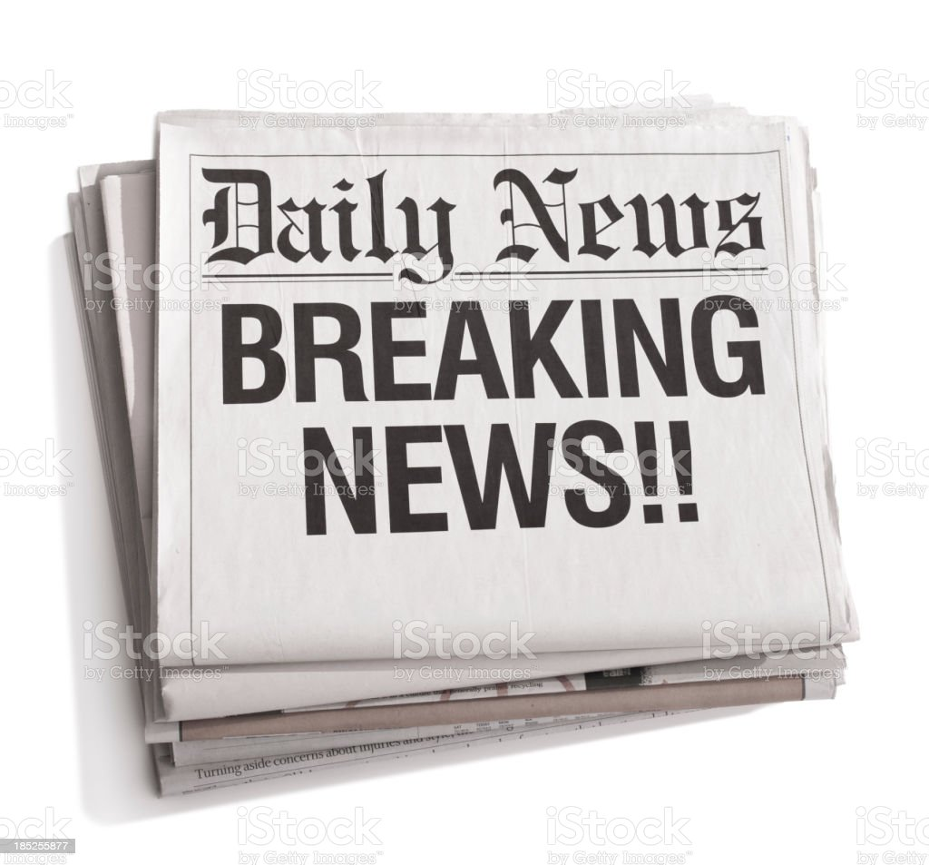 Newspaper Headlines Breaking News stock photo