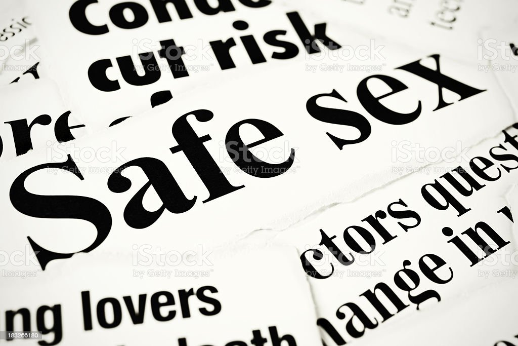 Newspaper headlines concerning safe sex royalty-free stock photo