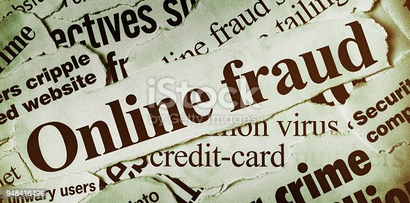 Many newspaper headlines all concerned with aspects of online fraud and crime.