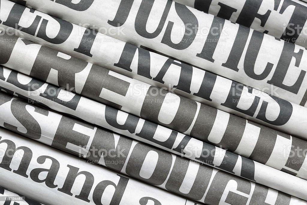 Newspaper headlines stock photo