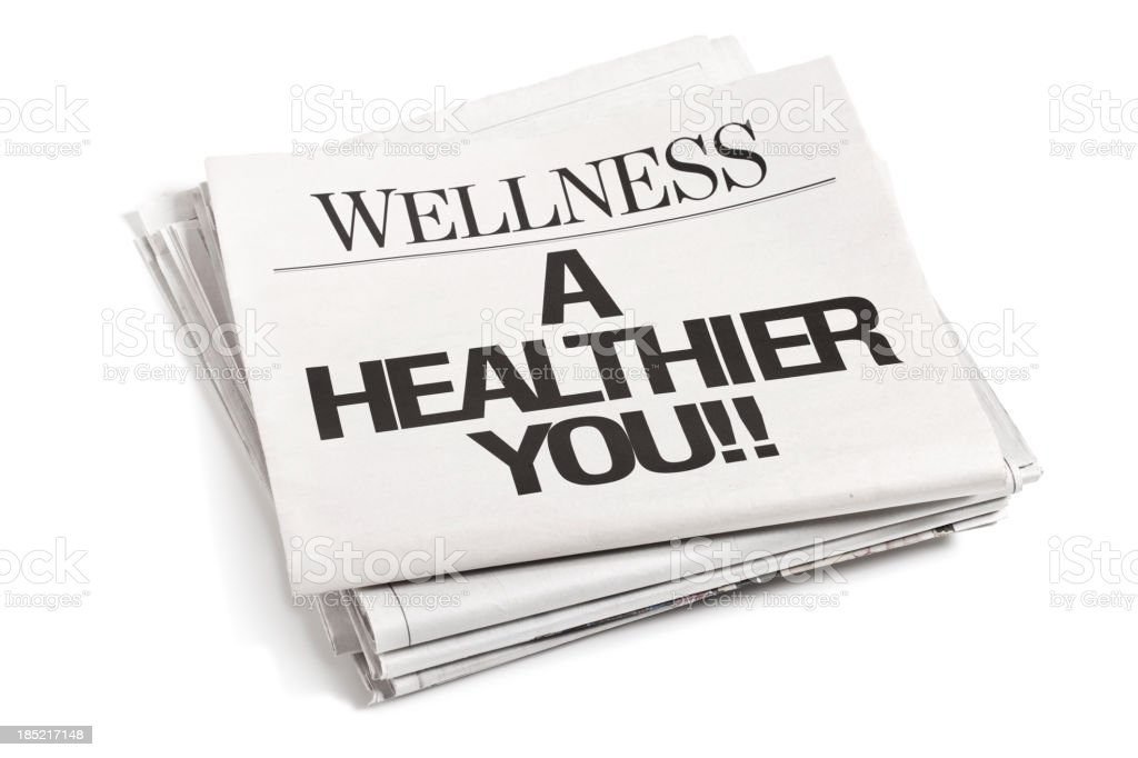 Newspaper Headlines Wellness A Healthier You royalty-free stock photo
