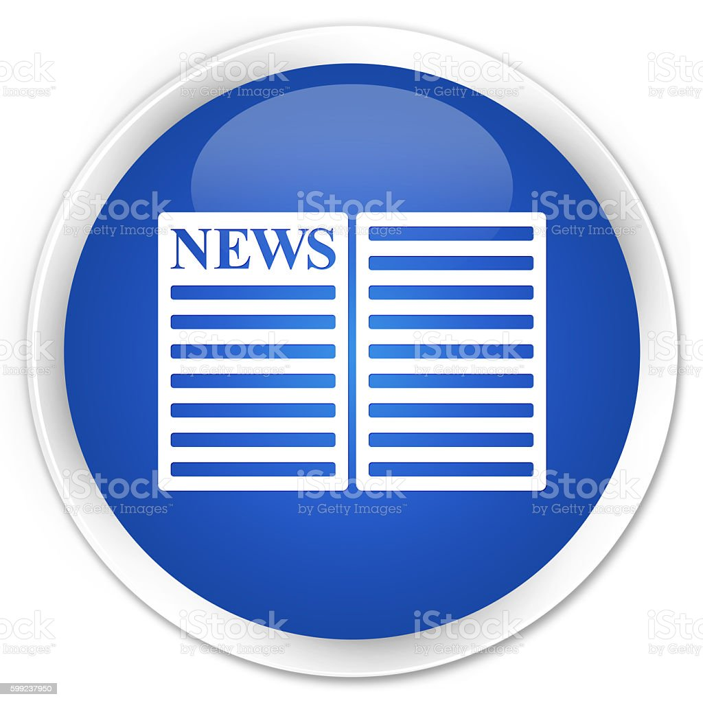 Newspaper icon blue glossy round button stock photo