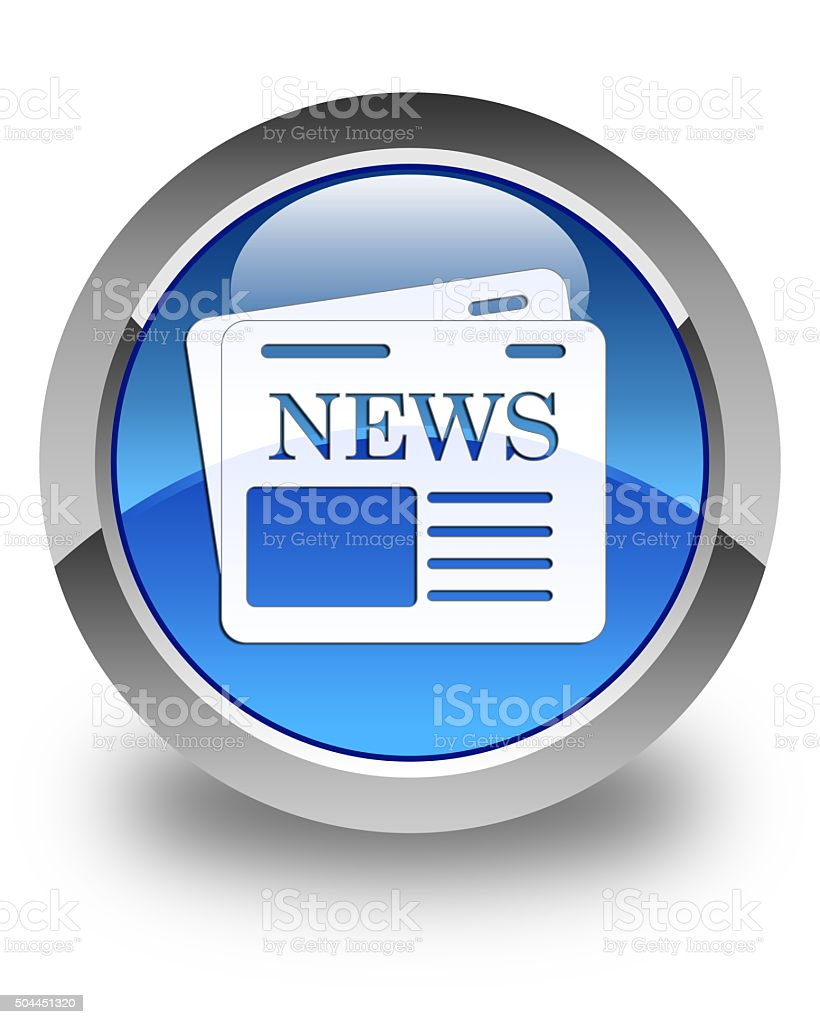 Newspaper icon glossy blue round button 3 stock photo