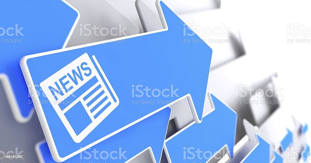 Newspaper Icon with News Title on Blue Arrow. stock photo