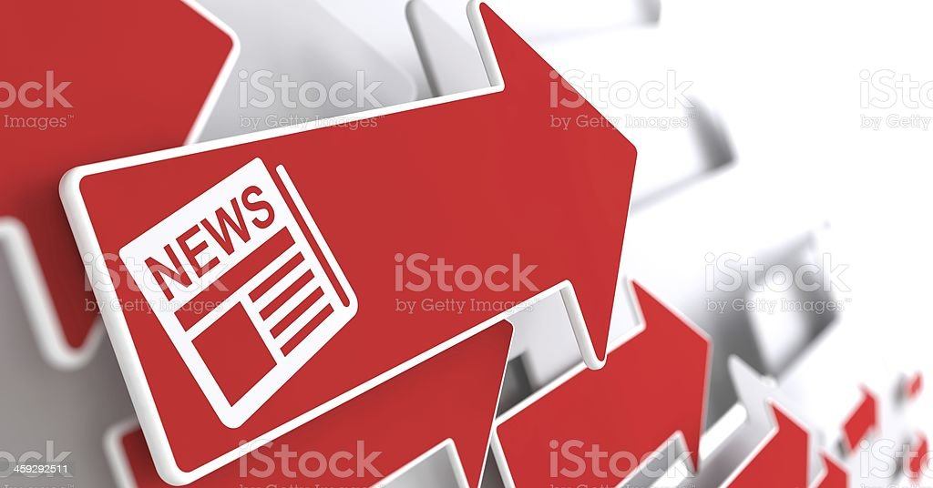 Newspaper Icon with News Title on Red Arrow. stock photo
