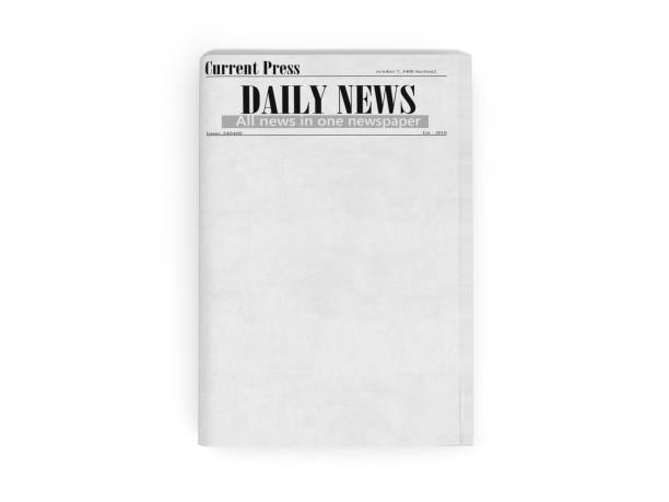 newspaper in stack 3d render on white stock photo