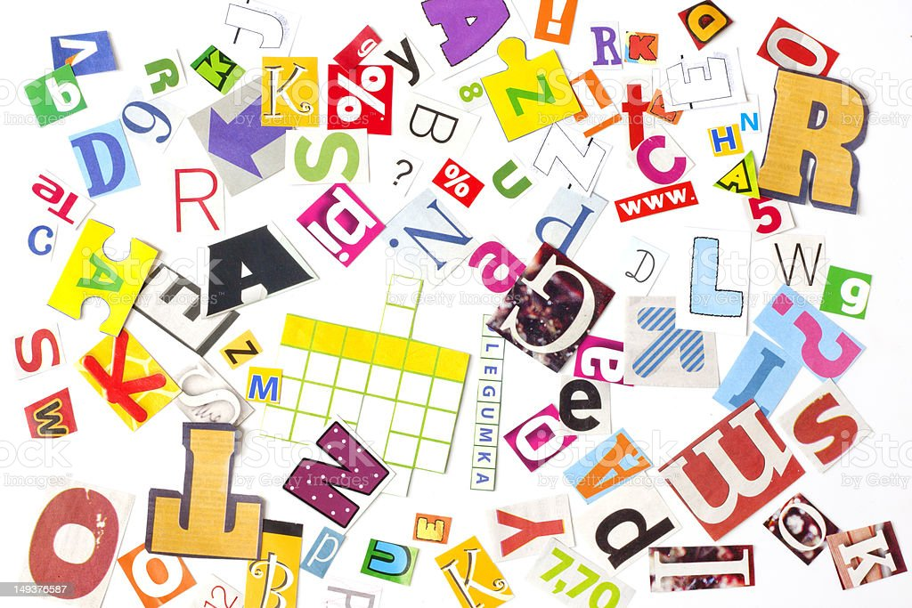 newspaper letters background royalty-free stock photo