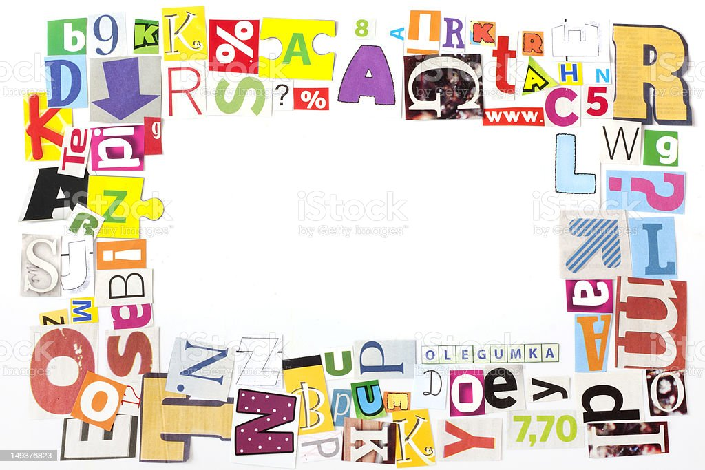 Newspaper Letters Frame Stock Photo & More Pictures of Abstract | iStock