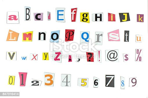 812461124istockphoto Newspaper letters, numbers and punctuation marks 847316414