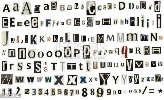 812461124istockphoto Newspaper, magazine alphabet with numbers and symbols 162048450