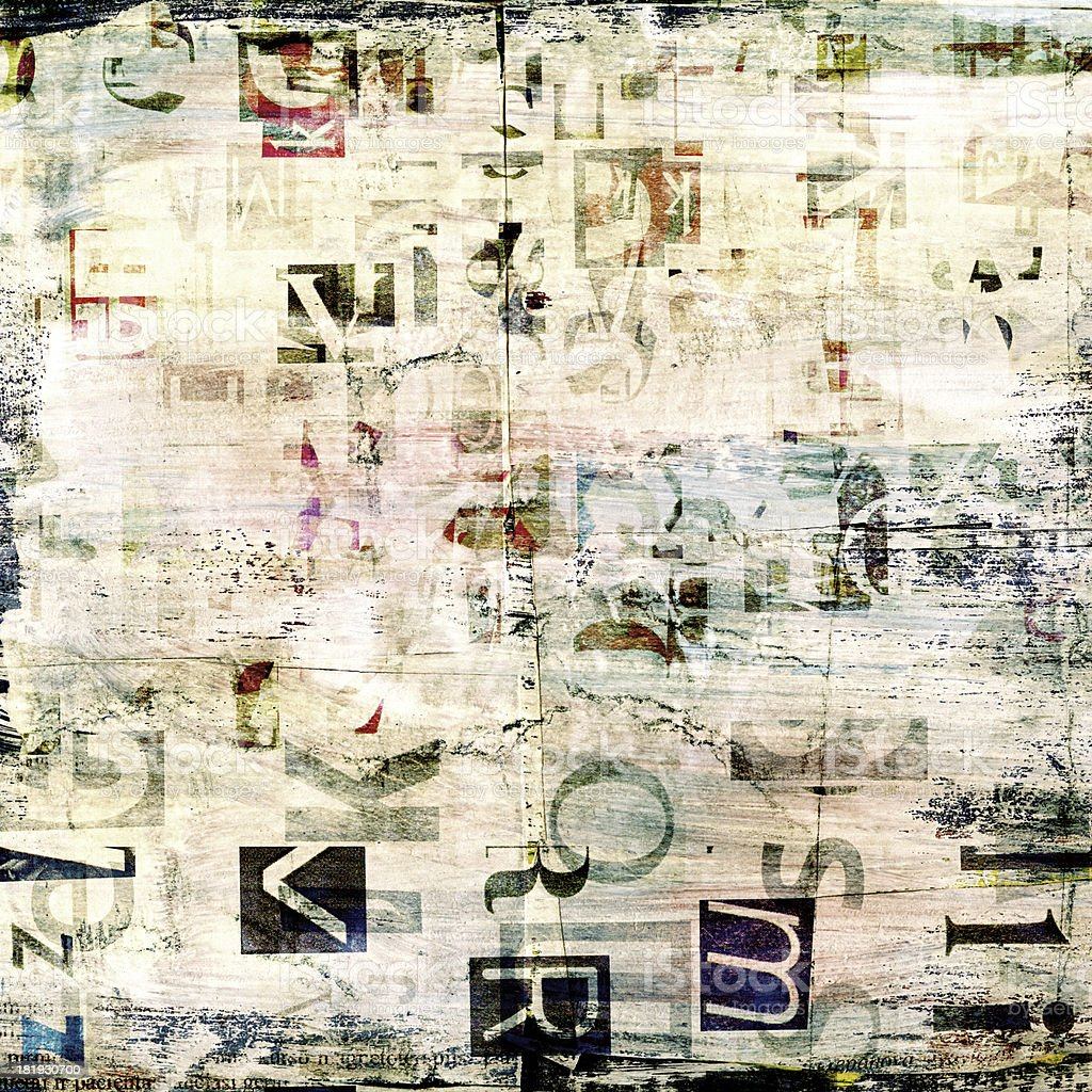 newspaper, magazine collage grunge background royalty-free stock photo