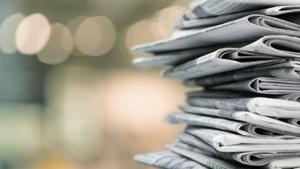 Newspaper. Pile of newspapers on white background newspaper stock pictures, royalty-free photos & images