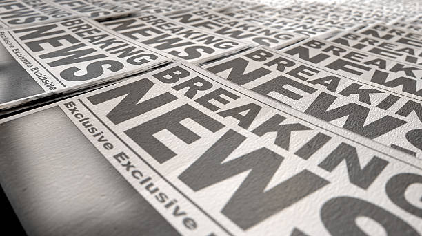 Newspaper Press Run End A long row of folded newspapers at the end of a press run with a generic headline that reads breaking news on the front page on an isolated white background front page stock pictures, royalty-free photos & images