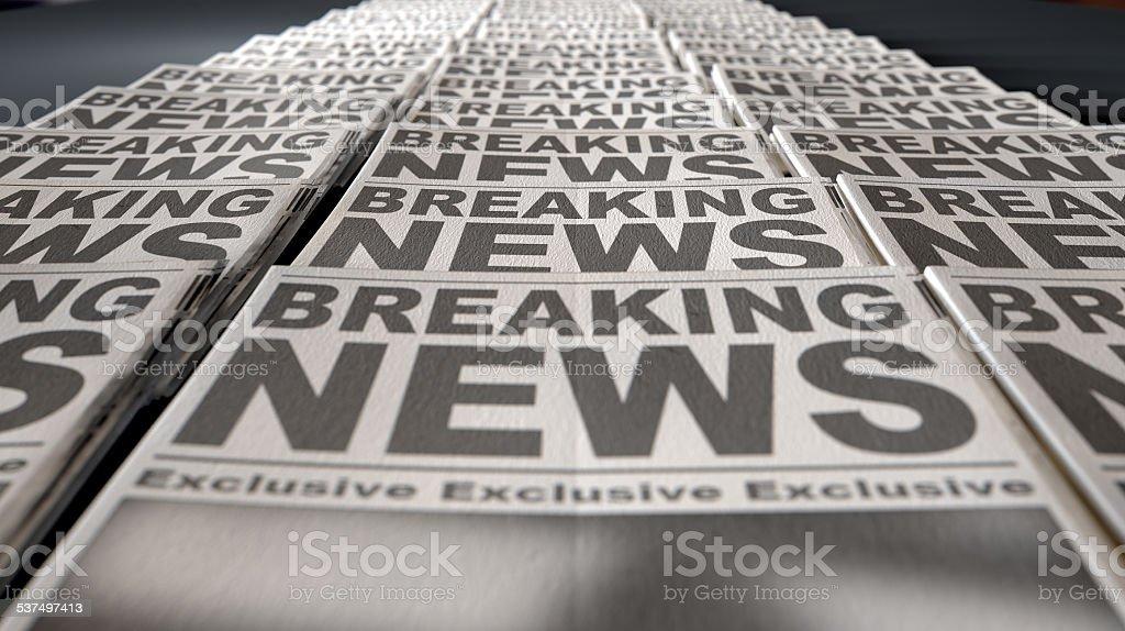 Newspaper Press Run End stock photo