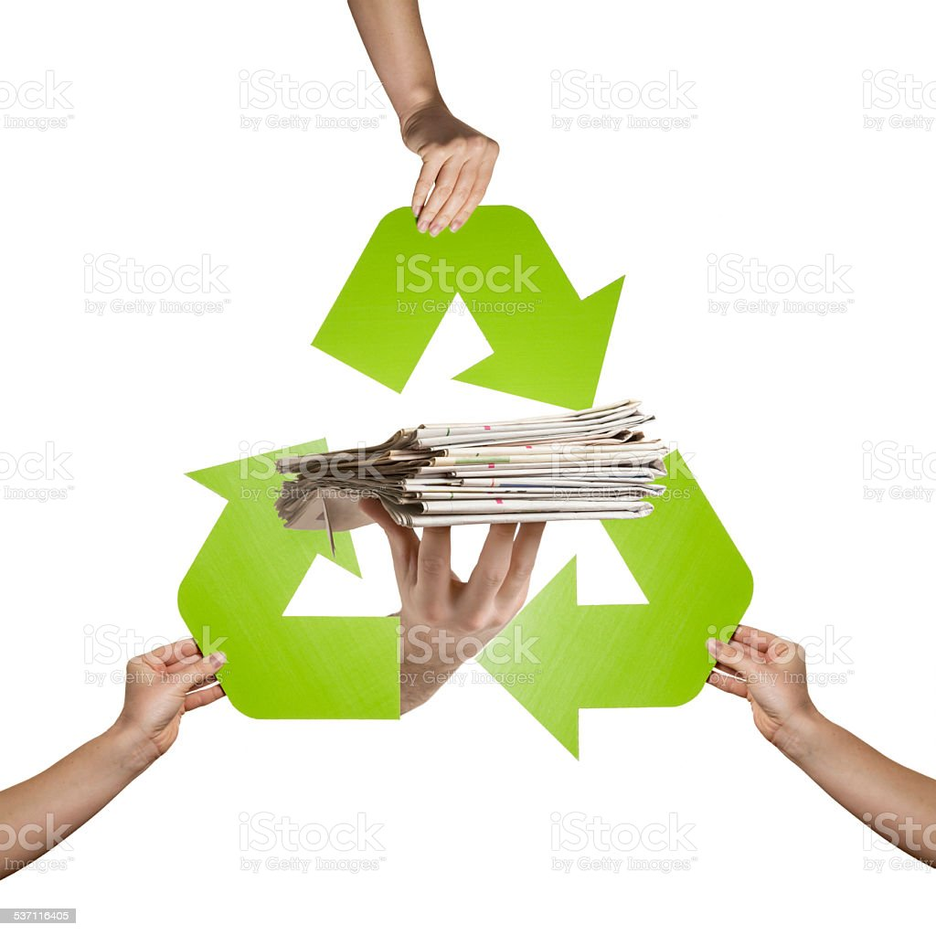 Newspaper recycling stock photo
