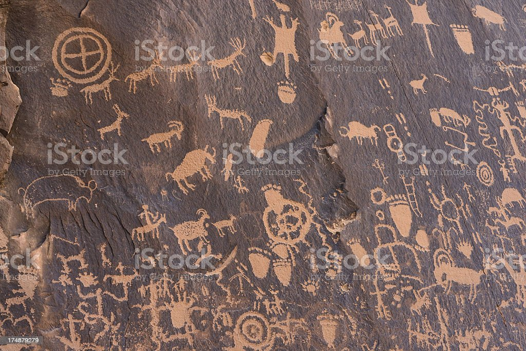 Newspaper Rock Anasazi Indian Petroglyphs stock photo