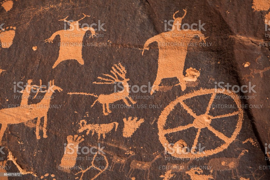 Newspaper rock ancient petroglyphs in Utah stock photo