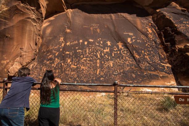 Newspaper rock ancient petroglyphs in Utah stock photo