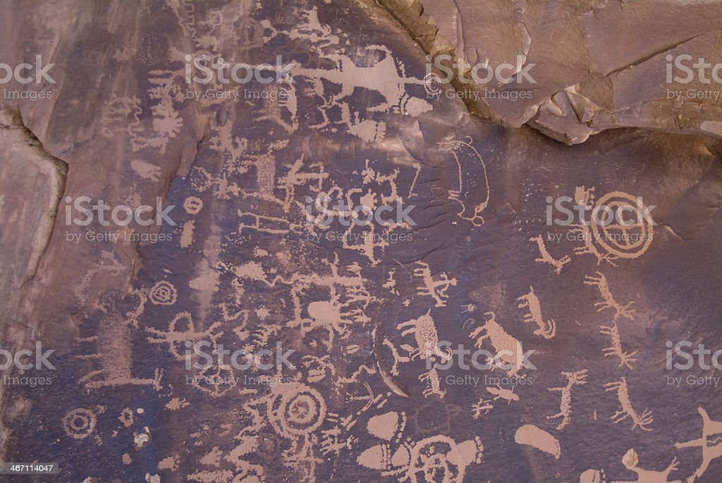 Newspaper Rock Petroglyphs Canyonlands National Park Needles District Utah royalty-free stock photo