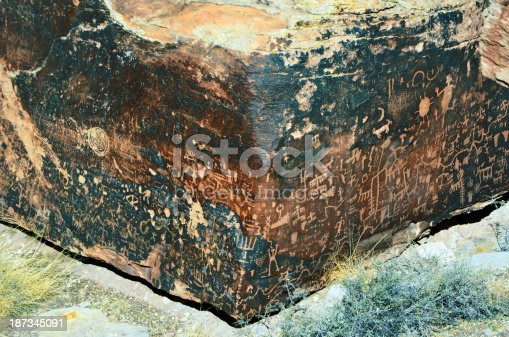 Myriad of petroglyphs made by ancient native Americans onto