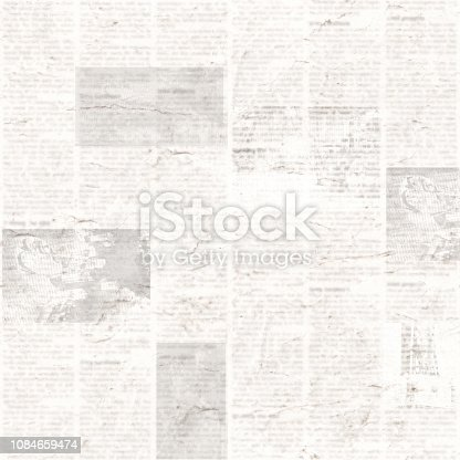 istock Newspaper seamless pattern with old vintage unreadable paper texture background 1084659474