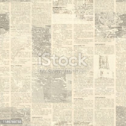 497021263 istock photo Newspaper seamless pattern with old vintage unreadable paper texture background 1189769733