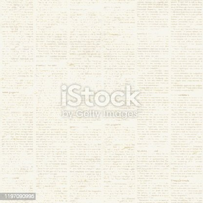 497021263 istock photo Newspaper seamless pattern with old vintage unreadable paper texture background 1197090995