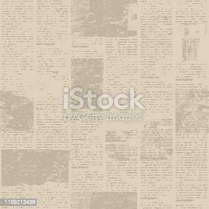 497021263 istock photo Newspaper seamless pattern with old vintage unreadable paper texture background 1199213439