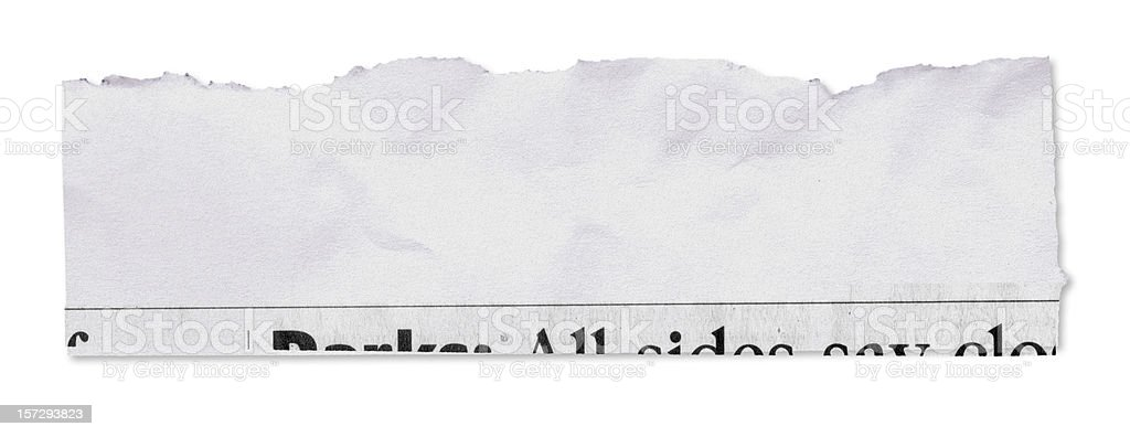 Newspaper tear on white w/ clipping path royalty-free stock photo
