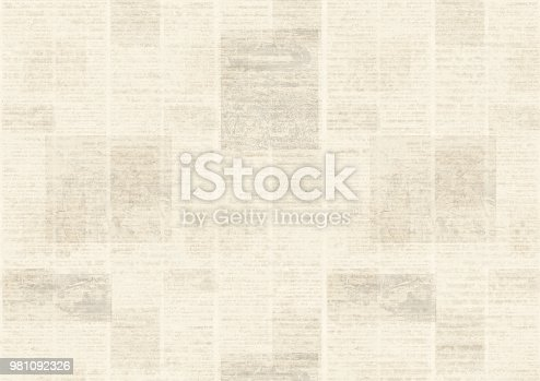 istock Newspaper vintage grunge collage background 981092326