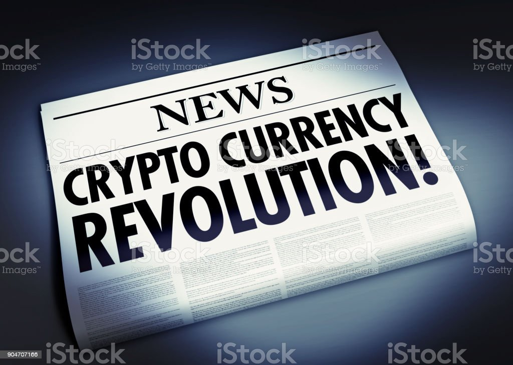 Newspaper with crypto currency revolution headline stock photo