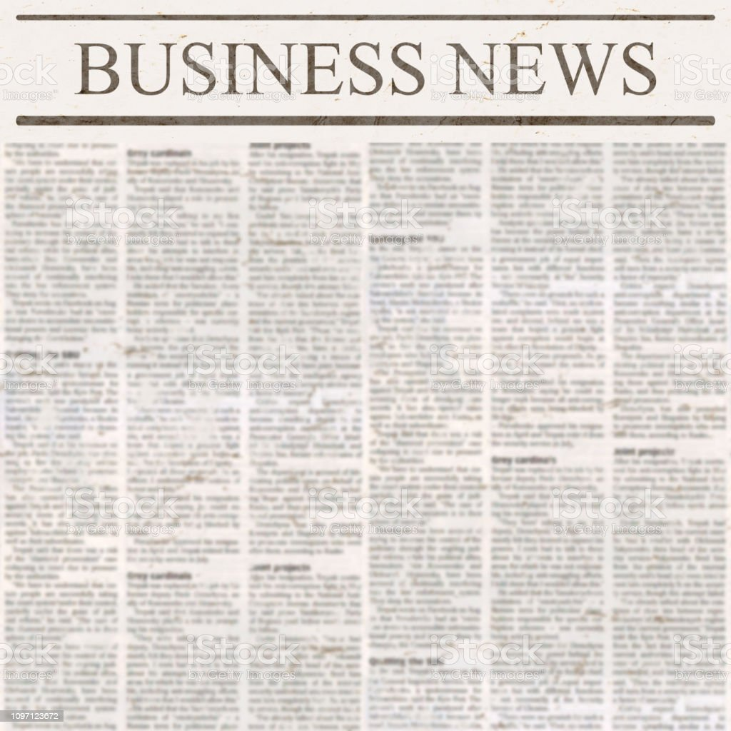 Newspaper with headline Business News and old unreadable text stock photo