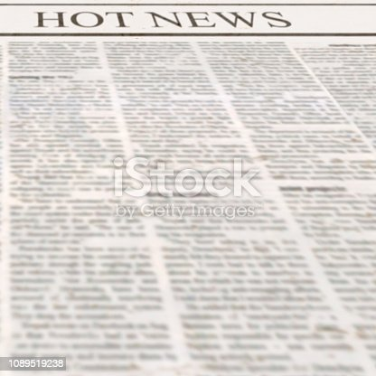 546439334 istock photo Newspaper with headline Hot News and old unreadable text 1089519238