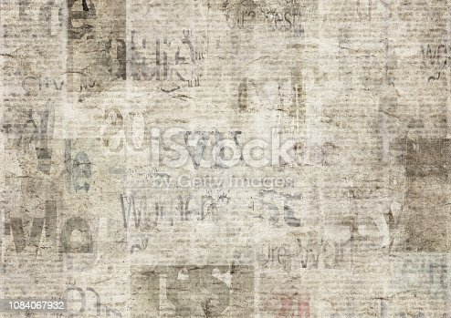 1134202009istockphoto Newspaper with old grunge vintage unreadable paper texture background 1084067932