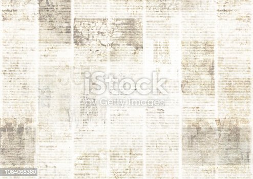 istock Newspaper with old grunge vintage unreadable paper texture background 1084068360