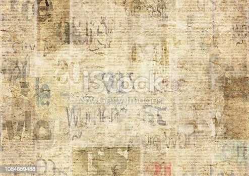 istock Newspaper with old grunge vintage unreadable paper texture background 1084659488