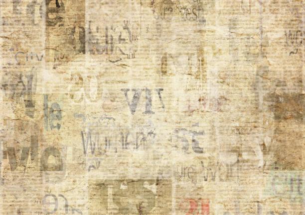 zeitung mit alten grunge vintage unlesbar papier textur hintergrund - kollagenblätter stock-fotos und bilder