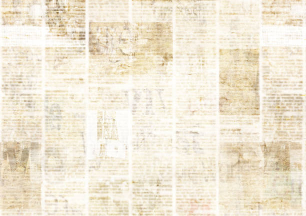 newspaper with old grunge vintage unreadable paper texture background - graphic print stock photos and pictures