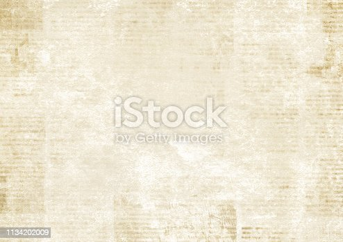 istock Newspaper with old grunge vintage unreadable paper texture background 1134202009