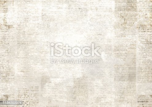 1134202009istockphoto Newspaper with old grunge vintage unreadable paper texture background 1134202074