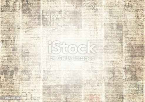 1134202009istockphoto Newspaper with old grunge vintage unreadable paper texture background 1136048130