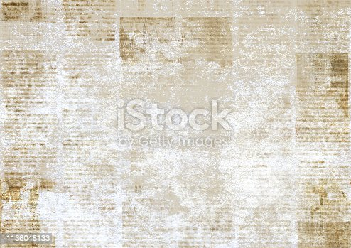 1134202009istockphoto Newspaper with old grunge vintage unreadable paper texture background 1136048133