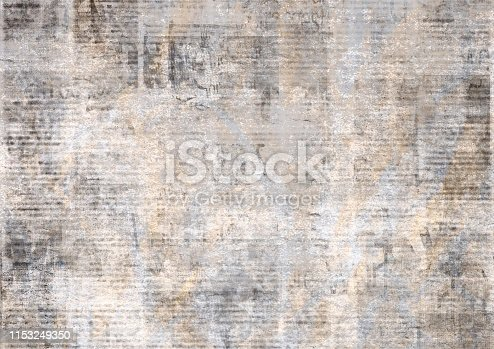 1134202009istockphoto Newspaper with old grunge vintage unreadable paper texture background 1153249350