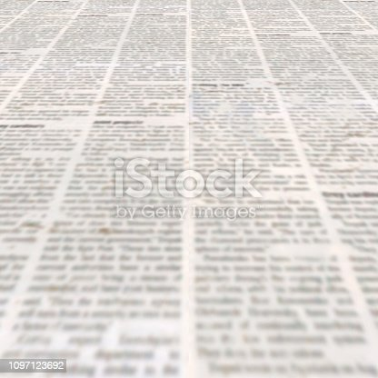 1134202009 istock photo Newspaper with old vintage unreadable paper texture background 1097123692