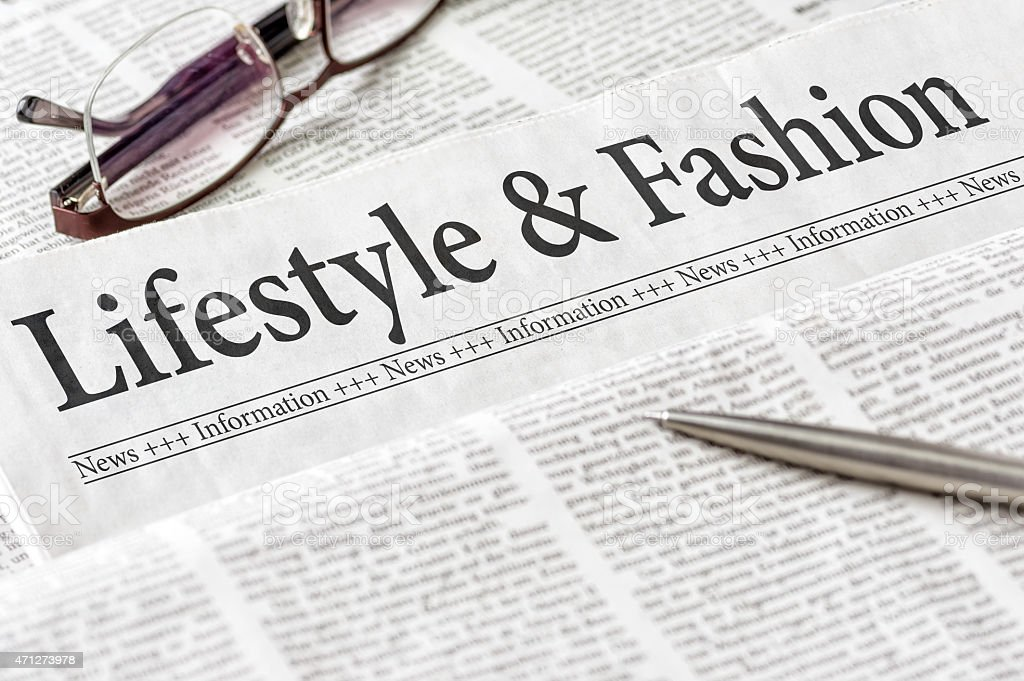 Newspaper with the headline Lifestyle and Fashion stock photo